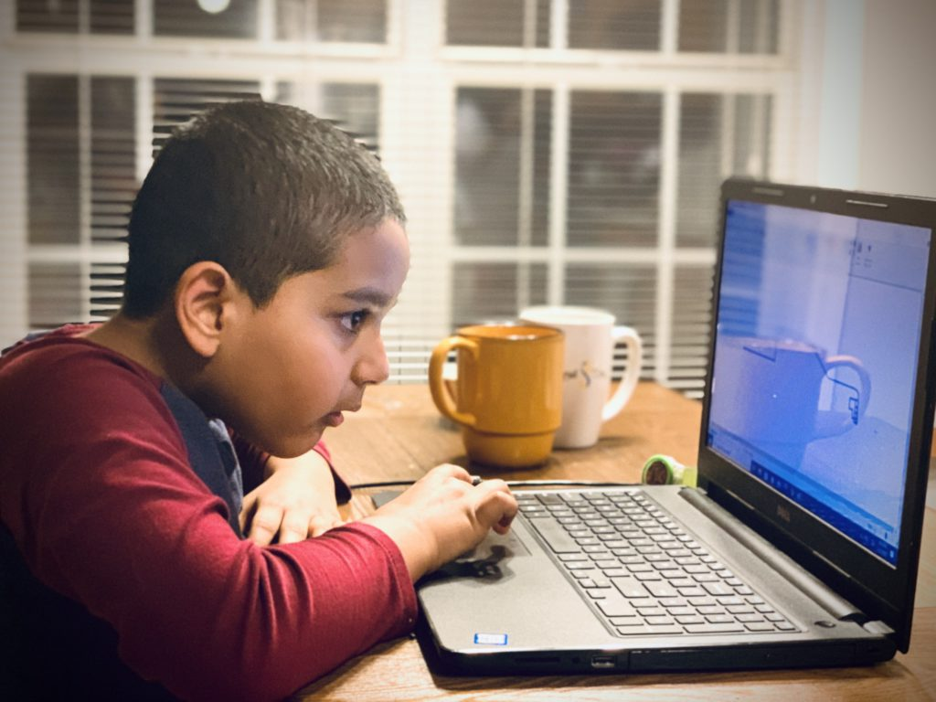 Kid taking online class during covid